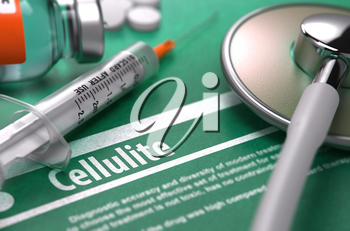Cellulite - Medical Concept with Blurred Text, Stethoscope, Pills and Syringe on Green Background. Selective Focus. 3d Render.