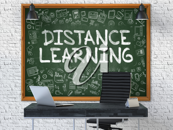 Distance Learning - Handwritten Inscription by Chalk on Green Chalkboard with Doodle Icons Around. Business Concept in the Interior of a Modern Office on the White Brick Wall Background. 3D.