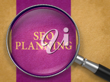 SEO - Search Engine Optimization - Planning through Magnifying Glass on Old Paper with Dark Lilac Vertical Line Background. 3D Render.