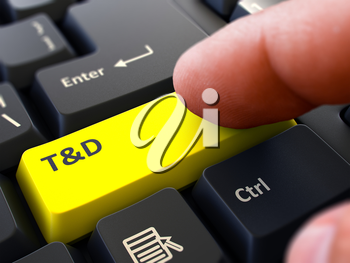 Finger Presses Yellow Button T and D  - Training and Development - on Black Keyboard Background. Closeup View. Selective Focus. 3d Render.