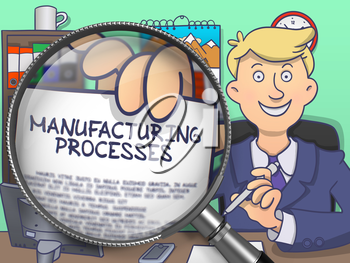 Manufacturing Processes. Cheerful Businessman Welcomes in Office and Showing Concept on Paper through Magnifier. Multicolor Modern Line Illustration in Doodle Style.