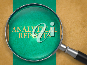 Analytical Reports through Loupe on Old Paper with Blue Vertical Line Background. 3D Render.