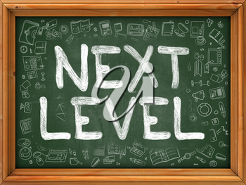 Next Level Concept. Modern Line Style Illustration. Next Level Handwritten on Green Chalkboard with Doodle Icons Around. Doodle Design Style of Next Level Concept.