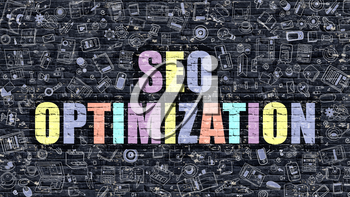 Multicolor Concept - SEO Optimization on Dark Brick Wall with Doodle Icons. Modern Illustration in Doodle Style. SEO Optimization Business Concept. SEO Optimization on Dark Wall.