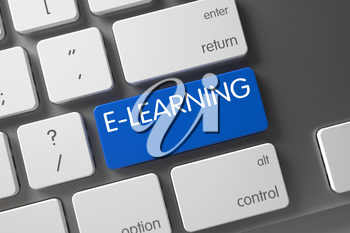 E-learning Concept: Metallic Keyboard with E-learning, Selected Focus on Blue Enter Keypad. Aluminum Keyboard with Hot Key for E-learning. 3D Illustration.