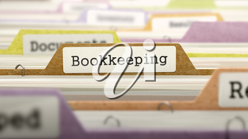 Bookkeeping - Folder Register Name in Directory. Colored, Blurred Image. Closeup View. 3D Render.