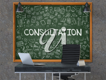 Green Chalkboard with the Text Consultation Hangs on the Dark Old Concrete Wall in the Interior of a Modern Office. Illustration with Doodle Style Elements. 3D.