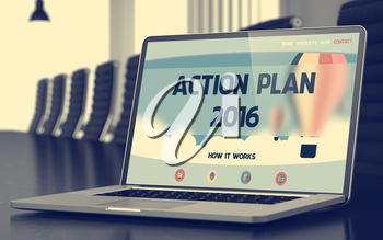 Laptop Screen with Action Plan 2016 Concept on Landing Page. Closeup View. Modern Conference Hall Background. Blurred Image. Selective focus. 3D Render.