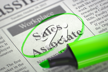 A Newspaper Column in the Classifieds with the Jobs Section Vacancy of Sales Associate, Circled with a Green Marker. Blurred Image with Selective focus. Job Search Concept. 3D Rendering.