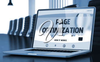 Page Optimization Concept. Closeup Landing Page on Laptop Screen on Background of Conference Room in Modern Office. Blurred Image with Selective focus. 3D.
