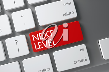 Next Level Concept Modern Keyboard with Next Level on Red Enter Key Background, Selected Focus. 3D Render.