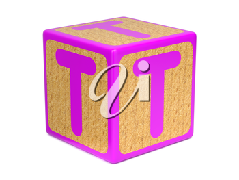 Letter T on Pink Wooden Childrens Alphabet Block  Isolated on White. Educational Concept.
