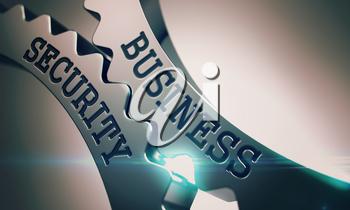 Business Security - Communication Concept. Business Security on the Mechanism of Metallic Cogwheels. Communication Concept in Industrial Design. 3D Render.
