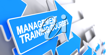 Management Training Courses - Blue Arrow with a Inscription Indicates the Direction of Movement. Management Training Courses, Label on the Blue Pointer. 3D.