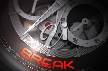 Break - Mechanical Wristwatch with Visible Mechanism and Inscription on the Face. Men Wrist Watch with Break on the Face, Symbol of Time. Time Concept with Lens Flare. 3D Rendering.