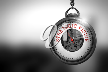 Strategic Vision Close Up of Red Text on the Vintage Pocket Watch Face. Business Concept: Strategic Vision on Watch Face with Close View of Watch Mechanism. Vintage Effect. 3D Rendering.