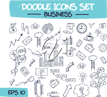 Doodle Icons Set - Business. Sketch Sign Illustration on Paper of Business Items. Hand Drawing Line Icons of Envelope, Infographic, Monitor, Flipchart, Briefcase, Book, and Money. .