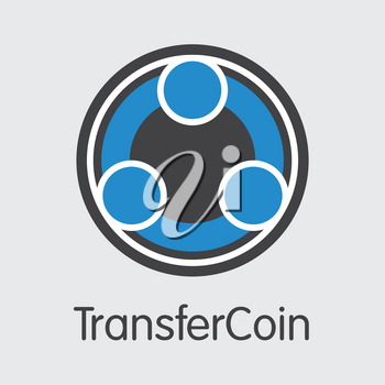 Transfercoin. Cryptographic Currency. TX Coin Image Isolated on Grey Background. Stock Vector Coin Pictogram.