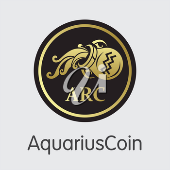 Aquariuscoin Finance. Digital Currency - Vector Symbol. Modern Computer Network Technology Coin Pictogram. Digital Web Icon of ARCO. Concept Design Element.