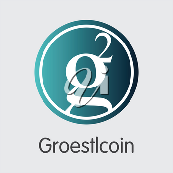 Groestlcoin Blockchain Based Secure Virtual Currency. Isolated on Grey GRS Vector Element.