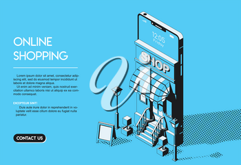Online Shopping Concept. Internet Store Halftone Isometric Vector Illustration on Blue Background in Thin Line Art.