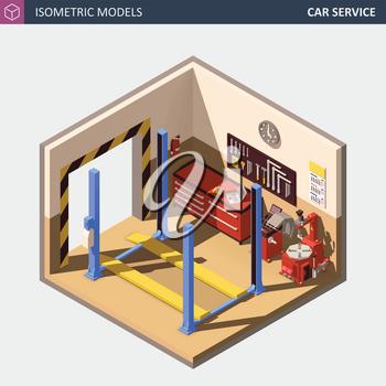 Vector Isometric Auto or Car Service Center Illustration. Includes 4 Post Car on Lift, Automobile Service Equipment and Tools.