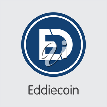 Eddiecoin Vector Logo for Internet Money. Crypto Currency Icon of EDDIE and Trading Sign for using in Web Projects or Mobile Applications.