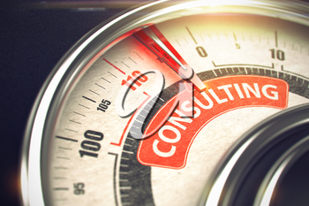 Conceptual Illustration of a Compass with Red Needle Pointing to Maximum of Consulting. Horizontal image. 3D Render.