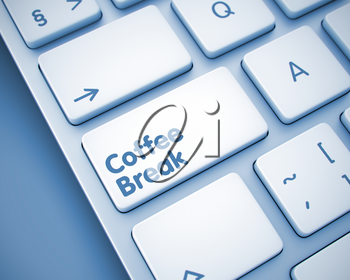 Business Concept: Coffee Break on the Modernized Keyboard lying on the Toned Background. Computer Keyboard with Coffee Break Button. 3D Illustration.