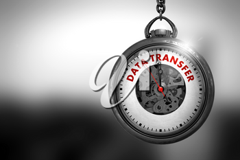 Business Concept: Data Transfer on Pocket Watch Face with Close View of Watch Mechanism. Vintage Effect. Business Concept: Vintage Watch with Data Transfer - Red Text on it Face. 3D Rendering.