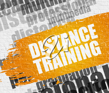 Education Service Concept: Distance Training Modern Style Illustration on Yellow Brushstroke. Distance Training on White Wall Background with Wordcloud Around It.