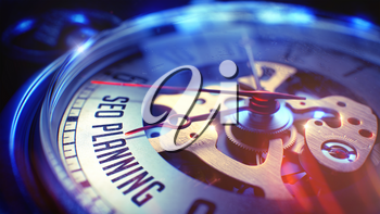 Pocket Watch Face with SEO Planning - Search Engine Optimization Planning Phrase on it. Business Concept with Light Leaks Effect. 3D Illustration.