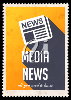 Media News on Yellow Background. Vintage Concept in Flat Design with Long Shadows.