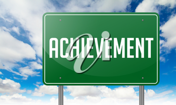Highway Signpost with Achievement wording on Sky Background.