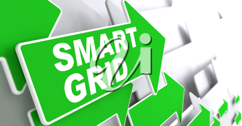 Smart Grid Green Arrows with Slogan on a Grey Background Indicate the Direction.