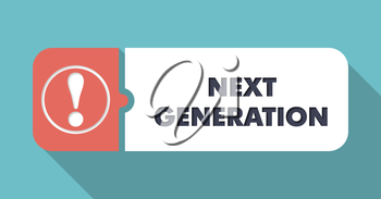 Next Generation in Flat Design with Long Shadows on Turquoise Background.