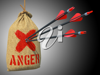 Anger -Three Arrows Hit in Red Mark Target on a Hanging Sack on Grey Background.