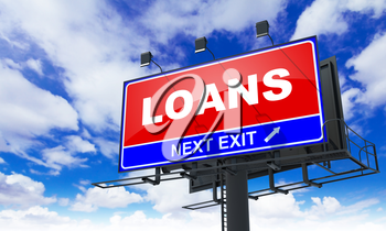 Loans - Red Billboard on Sky Background. Business Concept.