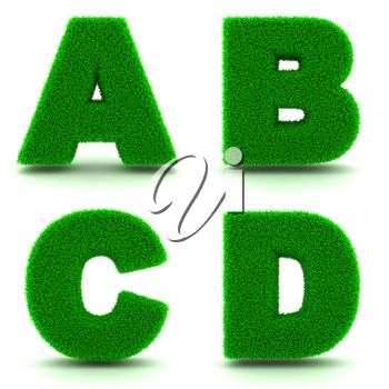 Letters ABCD - Alphabet Set of Green Grass on White Background in 3d.