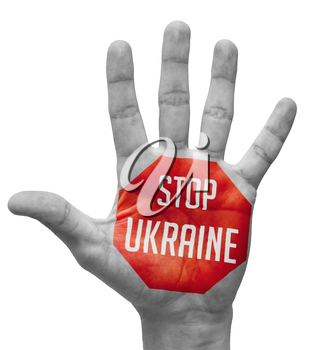 Stop Ukraine Sign Painted, Open Hand Raised, Isolated on White Background.