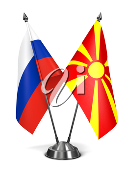 Royalty Free Clipart Image of Russia and Macedonia Miniature Flags