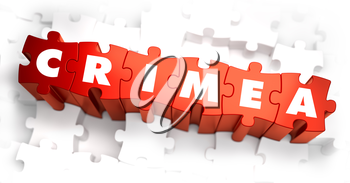 Royalty Free Clipart Image of Crimea Text on Puzzle Pieces