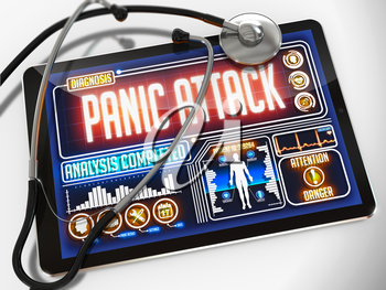Panic Attack - Diagnosis on the Display of Medical Tablet and a Black Stethoscope on White Background.