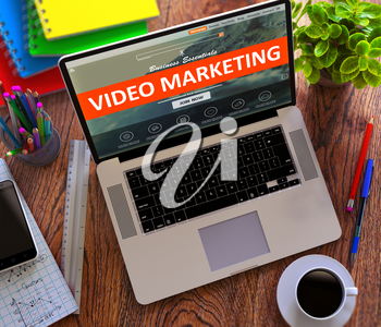 Video Marketing on Laptop Screen. Internet Working Concept.