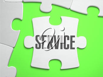 Service - Jigsaw Puzzle with Missing Pieces. Bright Green Background. Close-up. 3d Illustration.