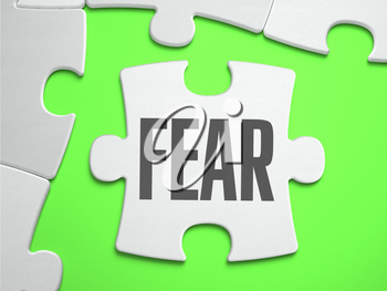 Fear - Jigsaw Puzzle with Missing Pieces. Bright Green Background. Close-up. 3d Illustration.