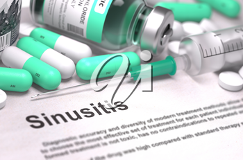Diagnosis - Sinusitis. Medical Concept with Light Green Pills, Injections and Syringe. Selective Focus. Blurred Background.