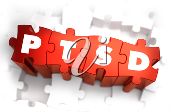 PTSD - Post Traumatic Stress Disorder - White Word on Red Puzzles on White Background. 3D Render.