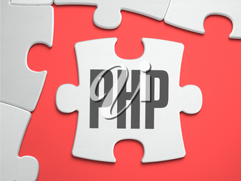 PHP - Personal Home Page - Text on Puzzle on the Place of Missing Pieces. Scarlett Background. Close-up. 3d Illustration.