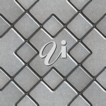 Gray Paving Slabs as Large Rhombuses with a Cross in the Center. Seamless Tileable Texture.